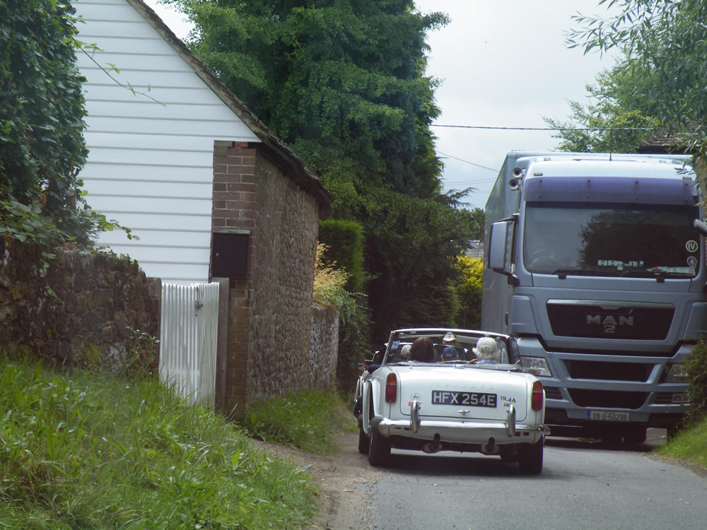 Tim and a lorry - neither wanting to yield