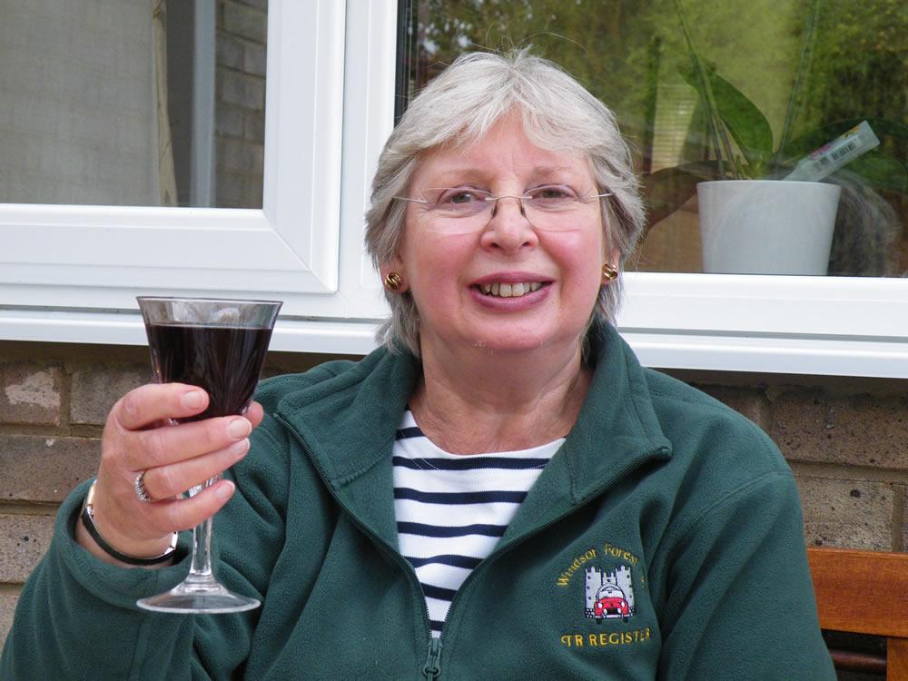 Lesley and a glass of ribena