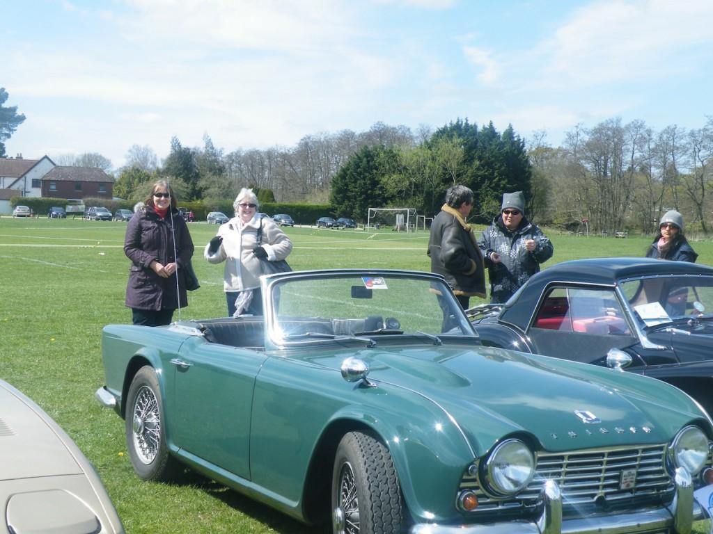 Lesley and Christophe demonstrating correct steering wheel handling to Lynda and Jeff