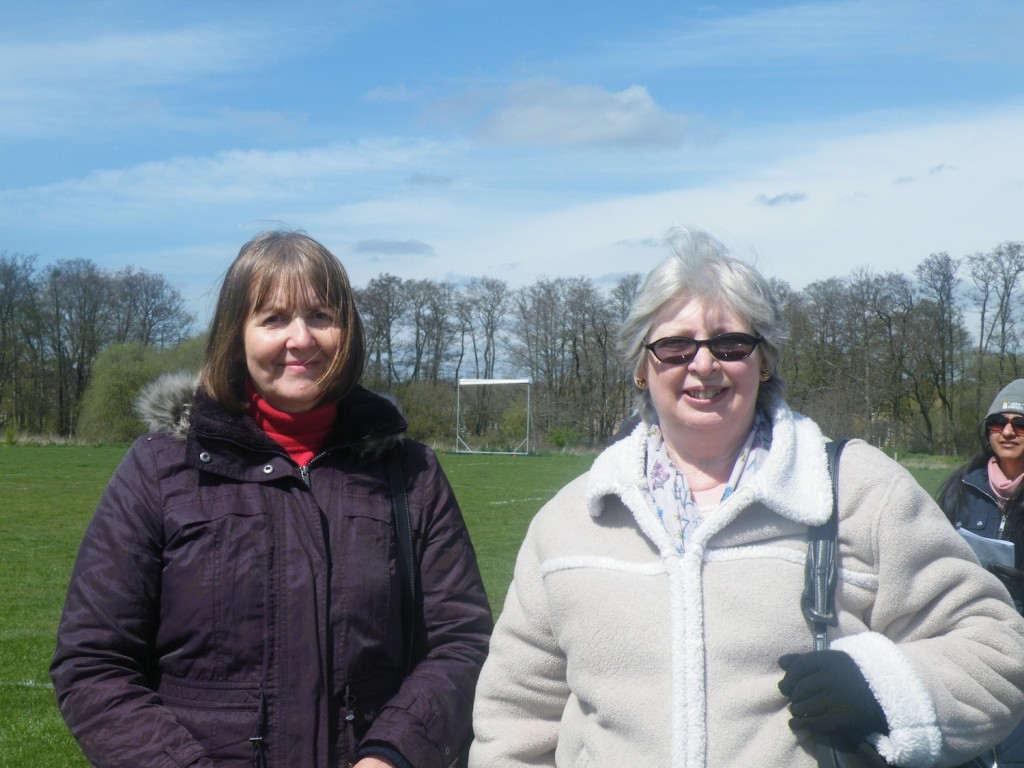 Lynda a goalpost, Lesley and a lady in a hat