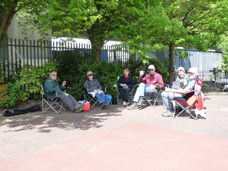 The pensioners enjoying the sunshine